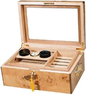 The Pompeii Glasstop Cigar Humidor 100 Count High Gloss Inlay Finish